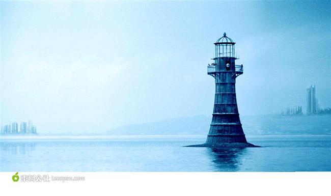 南海岛礁灯塔图案